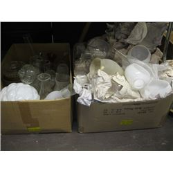 2 BOXES OF ASSORTED OIL LANTERN CHIMNEYS SHADES, PARTS & PIECES, ETC.