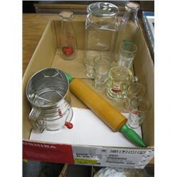 BOX OF MISC SIFTER, ROLLING PIN, COCA COLA GLASSES, MILK BOTTLES, ETC.