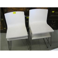 4 WHITE UPHOSTERED CHROME LEGGED CHAIRS