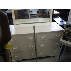 WHITE 6 DRAWER DRESSER WITH MIRROR