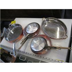 A LOT OF COPPER/CHROME, COPPER/ALUMINUM POTS & PANS
