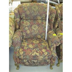 FLORAL PATTERNED WING BACKED RECLINER