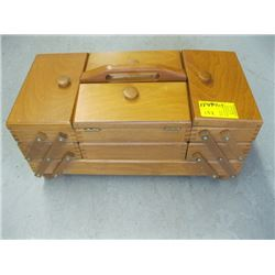 WOODEN FOLD OUT SEWING BOX WITH ACCESSORIES