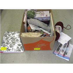 2 BOXES OF MISC SEWING SUPPLIES, CRAFT SUPPLIES, WOOL, ETC.
