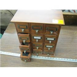 SMALL 12 DRAWER WOODEN STORAGE CABINET WITH SEWING ACCESSORIES