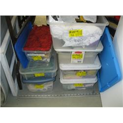 7 BINS OF ASSORTED MATERIAL