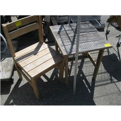 WOODEN CHAIR & TABLE