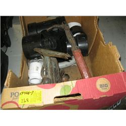 BOX OF MISC NAIL PULLER, SAW VISE, PLUMBING PIECES ETC.