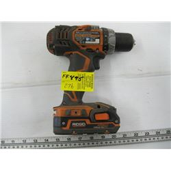 RIGID 18V CORDLESS DRILL (BATTERY BUT NO CHARGER)
