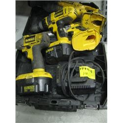 DEWALT 18 VOLT CORDLESS DRILL (2 DRILLS - IMPACT & SAWZALL WITH 2 BATTERIES & CHARGER)