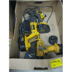 DEWALT 18 VOLT CORDLESS SAWZALL, DRILL, IMPACT GUN WITH 5 BATTERIES & CHARGER