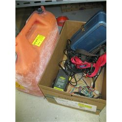 BOX OF MISC TIN BOX, BATTERY CHARGERS, INTELLIGENT BATTERY CHARGER, WIRE, FUEL CAN, ETC.