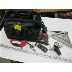 TOOL BAG WITH ASSORTED TOOLS INCLUDING A MILWAUKEE 100' TAPE MEASURE