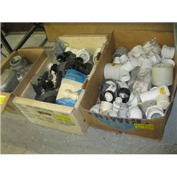 3 BOXES OF MISC PIPE PIECES, ELECTRICAL, SPRINKLERS ETC.