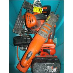 BIN OF ASSORTED CORDLESS TOOLS (NO CHARGER)