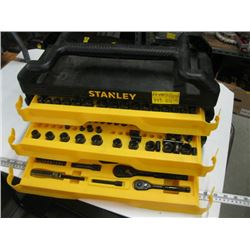 STANLEY TOOLBOX WITH SLIDEOUT DRAWERS & CONTENTS - RATCHETS/SOCKETS, ETC.