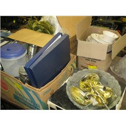 LARGE LOT OF ASSORTED DISHES, VASES, PHONE, LIGHT FIXTURES, DRAPES, ETC.
