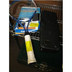 HEAD TENNIS RACKET, ARTIC GUARD WINDSHIELD COVER, GUN CLEANING KIT (FOR A 270 CALIBER RIFLE)