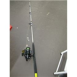 WHITE FISHING ROD WITH OMOTO REEL (ROD HAS BROKEN TIP)