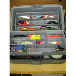 TACKLE BOX WITH ASSORTED LURES, KNIFE PLIERS ETC.