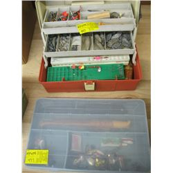 2 PLASTIC BOXES WITH ASSORTED FISHING TACKLE