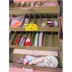 GREEN OLD PAL TACKLE BOX WITH CONTENTS