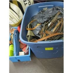 A LOT OF ASSORTED HORSE TACK, BRUSHES, SADDLE PAD ETC.