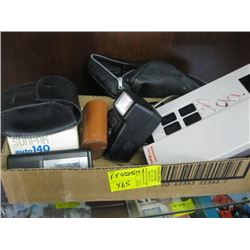 BOX WITH ASSORTED CAMERA FLASHES, DICTAPHONE, NINTENDO ACCESS., ETC.
