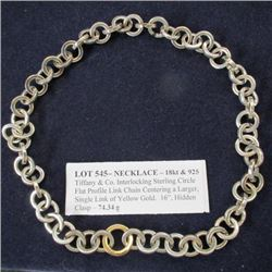 "16"" Necklace - 18kt & 925 - Tiffany & Co. Interlocking Sterling Circle Flat Profile Link Chain Cente"