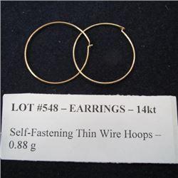 Earrings 14kt - Self-Fastening Thin Wire Hoops - 0.88 g