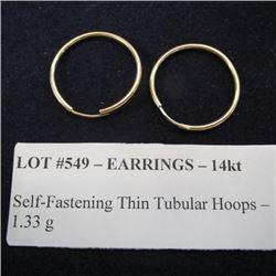 Earrings 14kt - Self-Fastening Thin Tubular Hoops - 1.33 g