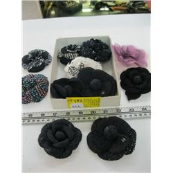 A LOT OF CHANEL FLOWER BROOCHES