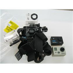 A LOT OF GO PRO ACCESSORIES, CAMERAS, CASES ETC.