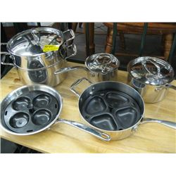 SET OF STAINLESS STEEL POTS (MYER)