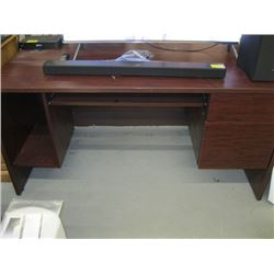 SINGLE PEDESTAL DESK WITH COMPUTER SLIDEOUT AND POWER HOLDER