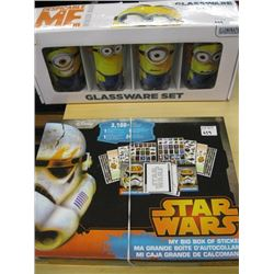 BOX OF STAR WARS STICKERS, DESPICABLE ME GLASS SET