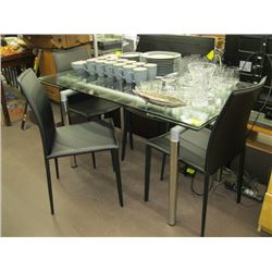 AS NEW GLASS TOP TABLE WITH DRAW LEAVES