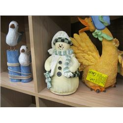 4 FIGURINES, DUCK, SLEEPING MAN, SNOWMAN, SEAGULLS