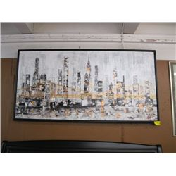 "LARGE FRAMED PRINT OF ""THE BRIDGE WITH THE CITY SCENE IN THE BACKGROUND"""