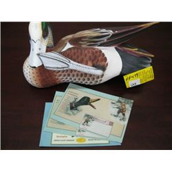 AMERICAN WIGEON CARVED DUCK BY GUS DUMIO, 3 POSTCARDS