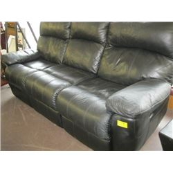 BLACK DUAL RECLINER SOFA, MATCHING SINGLE RECLINER CHAIR