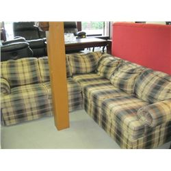 2 PC SECTIONAL PLAID PATTERNED SOFA
