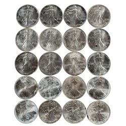 Roll of (20) Brilliant Uncirculated 1990-1997 $1 American Silver Eagle Coins