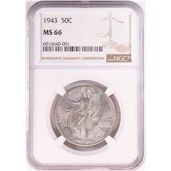 1943 Walking Liberty Half Dollar Coin NGC MS66