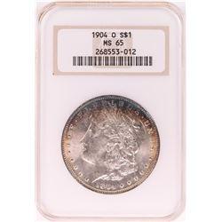 1904-O $1 Morgan Silver Dollar Coin NGC MS65 Nice Toning Old Holder