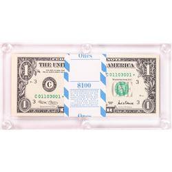 Pack of (100) 2001 $1 Federal Reserve STAR Notes Philadelphia in Capital Holder