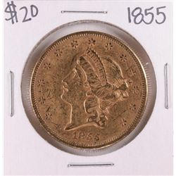 1855 Type 1 $20 Liberty Head Double Eagle Gold Coin