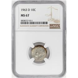 1963-D Roosevelt Dime Coin NGC MS67