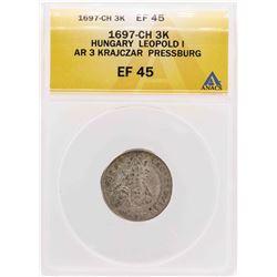 1697 Hungary Leopold I AR 3 Krajczar Pressburg Coin ANACS XF45