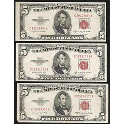 Lot of (3) 1953B $5 Legal Tender Notes
